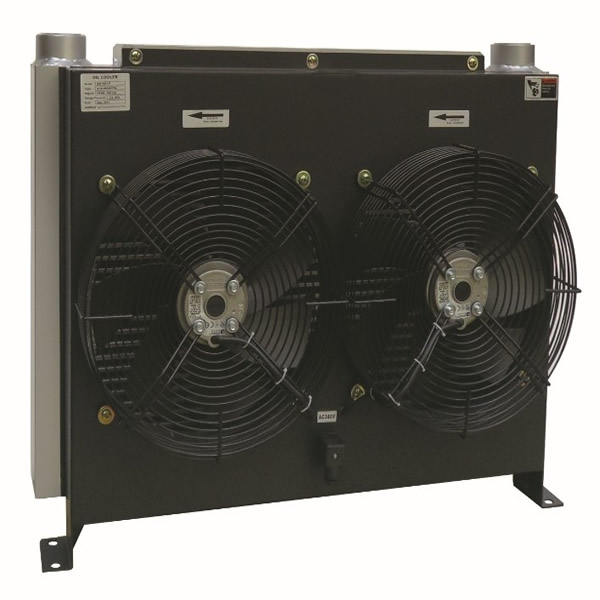 Hydraulic oil cooler with fan motor